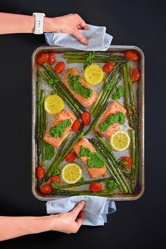 Sheet Pan Salmon Supper - Nom Nom Paleo® - This Sheet Pan Salmon Supper is one of my favorite weeknight family meals! It's so simple - Nom Nom Paleo, Salmon Recipes, Fish Recipes, Keto Recipes, Potato Recipes, Seafood Recipes, Pasta Recipes, Healthy Recipes, Crockpot Recipes