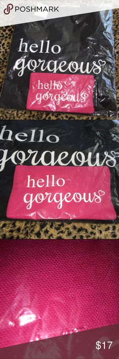 """Canvas bag with make up bag Sassy """"Hello Gorgeous"""" canvas bag with handles and coordinating pink make up pouch with top zipper.  Large bag is 14-1/2"""" wide X 15"""" tall.  Pouch is 8-1/2"""" wide X 4-3/4"""" tall. BRAND NEW IN PACKAGE. Macy's Bags Totes"""