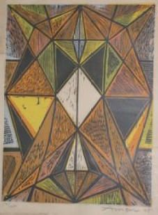 'diamond abstract' woodblock by irving amen