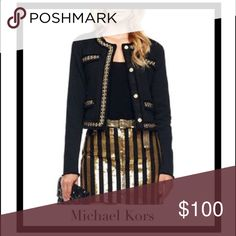 Michael Kors Black & Gold Chain Jacket Michael Kors Gold Chain Trimmed Jacket. This dark Rich Black Gold Trimmed Jacket by Michael Kors is an absolute show stopper! Sophisticated yet edgy look is lavishly trimmed with gold chain links threaded with black leather-like lacing. The chains adorn both sides of the front opening, the neck, top of the four (faux) pockets and bottom of the jacket. Can be worn open or closed it is absolutely fantastic!! Michael Kors Jackets & Coats