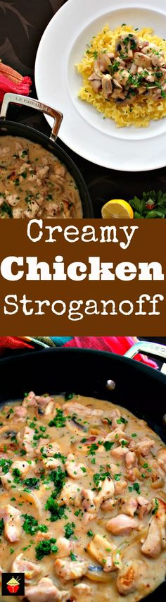 Creamy Chicken Stroganoff is a quick and easy dinner, with delicious strips of chicken and sauteed mushrooms in a creamy sauce using low fat yogurt!   Lovefoodies.com