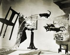"""""""Dali Atomicus"""" (1948) … this portrait of Salvadore Dali by photographer Philippe Halsman took five hours and 28 attempts to achievehisdesired depiction of the idea of suspension"""