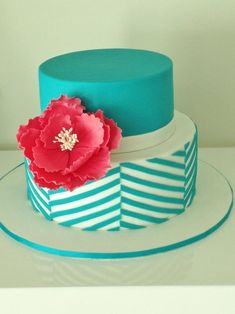 Check out this gorgeous teal chevron cake made using the techniques learned in the online class, Clean  Simple Cake Design.