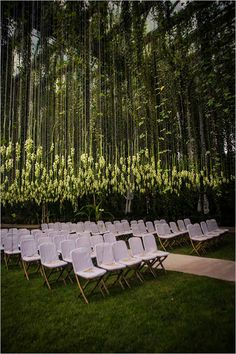 Floral canopy at wedding ceremony, modern wedding ceremony ideas with floral canopy, florals hanging upside down at wedding ceremony