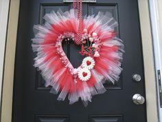 Valentine Tulle wreath I made.