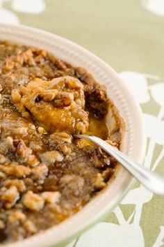 Paula Deen's Sweet Potato Pecan Casserole _ My mouth is already watering just thinking about eating this!!!! This is by far, my most favorite Thanksgiving side dish! Thank you once again, Paula Deen! If you're still needing a yummy recipe for sweet potatoes, I highly recommend this one! It's always a fav!!