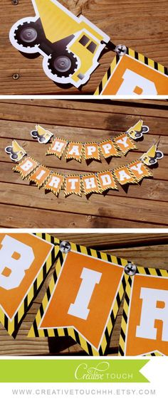 Construction Birthday Banner Construction by CreativeTouchhh Construction Birthday Parties, Construction Theme, 3rd Birthday Parties, Boy Birthday, Birthday Ideas, Birthday Recipes, Party Invitations Kids, Party Decoration, Happy Birthday Banners
