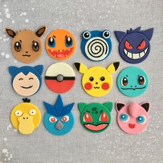 12 Pokemon Fondant Cupcake Toppers