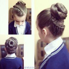 Косы с лентами, прически для девочек, косы в школу