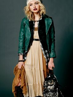 Love that green leather jacket.