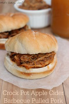 Crock Pot Apple Cider Barbecue Pulled Pork. Easy and delicious pulled pork that combines the flavors of barbecue sauce and apple cider. #pulledpork #crockpot #dinner