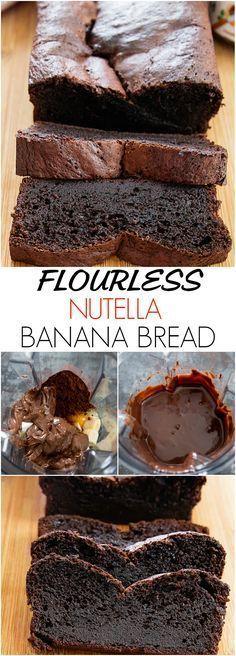 Super moist and chocolatey. Just 5 ingredients a… Flourless Nutella Banana Bread. Super moist and chocolatey. Just 5 ingredients and the batter is made in a blender! Gluten Free Baking, Gluten Free Desserts, Healthy Desserts, Just Desserts, Delicious Desserts, Dessert Recipes, Yummy Food, Desserts Nutella, Healthy Nutella Recipes