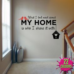 Wall Decals for Stairway | Black and Red What I Love Most About My Home wall decal on a stairway