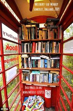 The first time a phone booth was used for books!  Created in 2009 when their mobile library was cut.