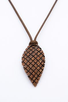 """ON SALE Gift for him pendant """"Castor"""" from Coconut Shell hand carved ethno natural wood leaf pendant art pendant coconut pendant handmade j - $15.00 USD"""
