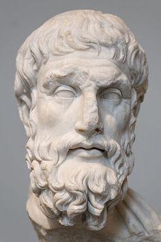 Epicurus, Roman bust (marble), copy after Hellenistic original, 2nd century AD (original 3rd c. BC), (Metropolitan Museum of Art, New York).