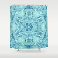 Bubbling to the surface in baby blue by Wendy Townrow, bubble, blue, baby blue, fractal, kaleidoscope, mandala, sacred geometry, peaceful, modern, unique, pattern, design, digital, digital design, digital art, illustration, shiny, white,abstract, graphic design, art, society6, buyart, decor, home decor, bathroom, bathroom decor, shower curtain