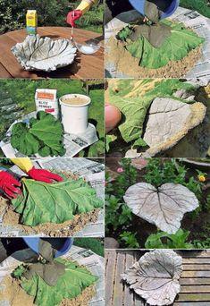 DIY Garden Decor Ideas Using Concrete – Garden Projects Landscaping Tools, Backyard Landscaping, Backyard Ideas, Diy Garden Decor, Garden Art, Garden Decorations, Diy Jardin, Concrete Leaves, Concrete Garden