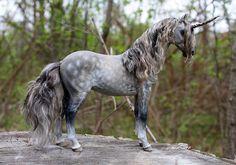 "OOAK Fantasy Equine Unicorn Horse Sculpture ""Prosecco"" by Quequinox Art"