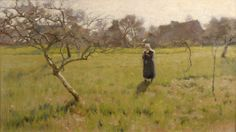 """""""Brittany Field with Figure"""" by Arthur Wesley Dow, Those are probably old apple trees. One of my favorite places in the world - Normandy and Brittany in France."""