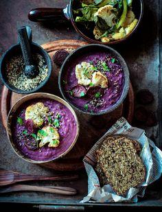 Roast Purple Sweet Potato & Cauliflower Soup