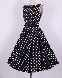 FREE SHIPPING prom dresses clubwear vintage style long dresses rockabilly cotton fabric novelty eletant black white pollka dots $29.00