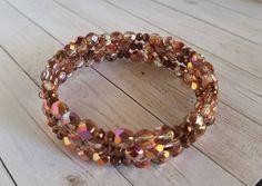 Wire Wrapped Bracelet, Memory Wire Bracelets, Bracelet Clasps, Beaded Bracelets, Czech Glass Beads, Iridescent, Layering, Bronze, Memories