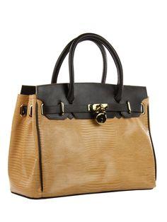 Bolsa feminina em couro legítimo estampa lizard, com alças e detalhes em couro liso.