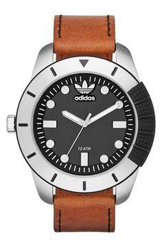 adidas Originals 'ADH-1969' Leather Strap Watch, 48mm