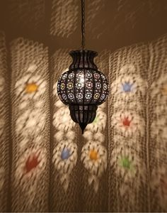 Antique Finish Moroccan Ceiling Lamp with Multicoloured Glass