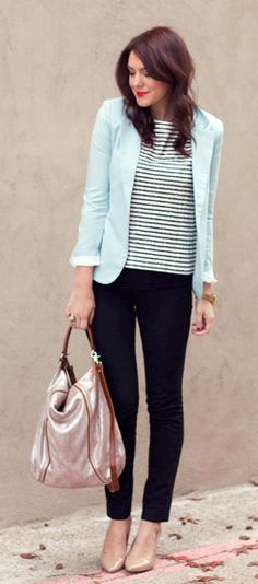 Key of this outfit. Strip shirt, pastel (or could be neon) blazer and nude heels