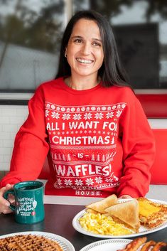 All I want for Christmas is Waffles All I Want, Things I Want, Christmas Sweaters, Waffles, Cuffs, Smooth, Printing, Spandex, Stitch