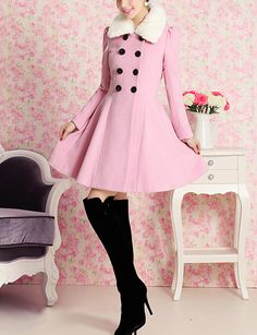 Pink Double-breasted Fur Collar Wool Coat