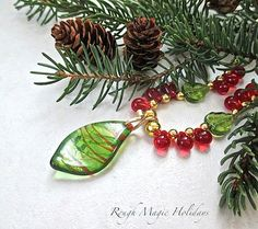 Colorful Christmas Necklace Lampwork Leaf by RoughMagicHolidays