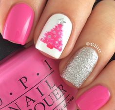 50 festive christmas nail art designs christmas tree nails tree pink christmas tree nail art by glittr nailpolis museum of nail art prinsesfo Image collections