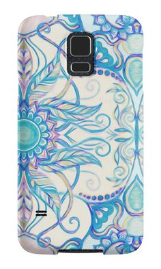 """Teal Blue, Pearl & Pink Floral Pattern"" Samsung Galaxy Cases & Skins by micklyn 