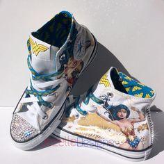 818eba92a05daf Wonder Woman Converse Sneakers w  Swarovski Crystals Cool Converse