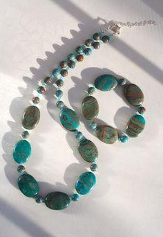 Teal Necklace & Bracelet Set Spring Fashion by AncientSunJewelry, $119.00  teampinterest