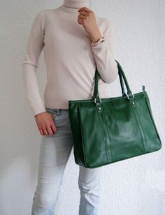 Leather handbagAdeleshop tote laptop purse in Green by Adeleshop, $145.00