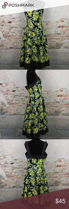 Hell Bunny L Rockabilly Pinup Leandra Lemon Dress NWOT Hell Bunny L Rockabilly Pinup Leandra Stretch Cotton Lemon Dress w/ POCKETS Hell Bunny Dresses