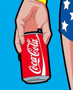 Wonder Woman with a Can of Coca Cola pop art illustration. Love the detail within the illustration with the tones, and dots. Also the graphics of the can of Coke are very strong and make the whole image look extremely effective. Roy Lichtenstein Pop Art, Jasper Johns, Cultura Pop, Andy Warhol, Wonder Woman, Illustration Pop Art, Richard Hamilton, Power Pop, Arte Popular
