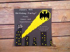Retro Batman Superhero Invitation by CasualMagpie on Etsy