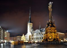 Christmas atmosphere of cities and towns in Czechia : Olomouc Empire State Building, Barcelona Cathedral, Bing Images, Tower, City, Travel, Christmas, Self, Voyage