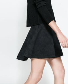 FLORAL JACQUARD SKATER SKIRT from Zara