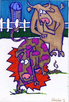 """""""untitled(cows)"""", marker on paper, roughly 5 x 8"""", 2011"""