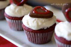 14 Days of Sweet Valentine's Day Ideas Red Velvet Cupcake Recipe from With Style & Grace!