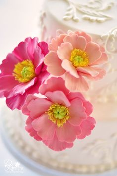 DK Designs: New Poppy Cake Flower Trio in Two Shades... Lemon Yellow and Salmon Pink