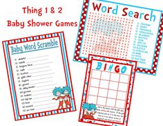 Dr. Seuss THING 1 THING 2 Baby Shower Printable GAMES  Personalized  3 Pack