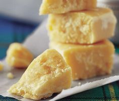 Milk Tablet - A Scottish favourite: crumbly, buttery fudge made with creamy condensed milk. You can make it too! Click for the recipe »