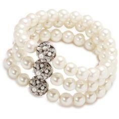 Bracelet Multi Row   Violet Pearl Crystal Three Row   Carolee.com ($38) ❤ liked on Polyvore